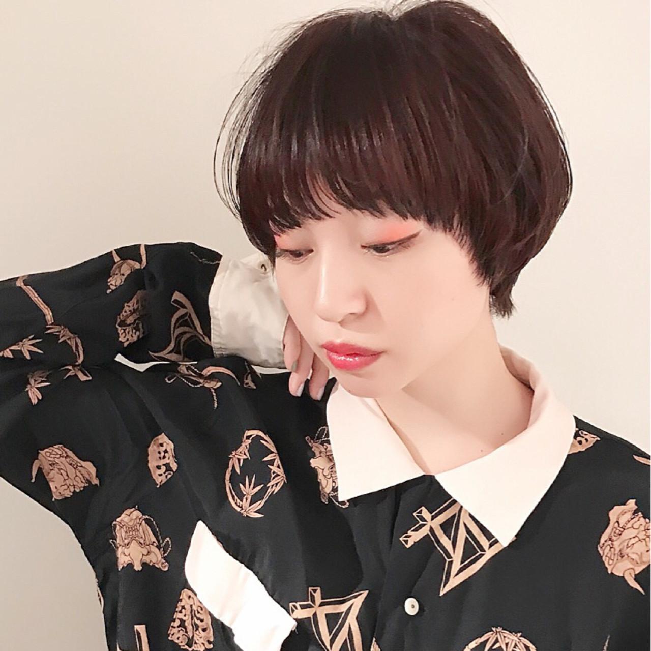 冬 マロンピンク モード マッシュ ヘアスタイルや髪型の写真・画像