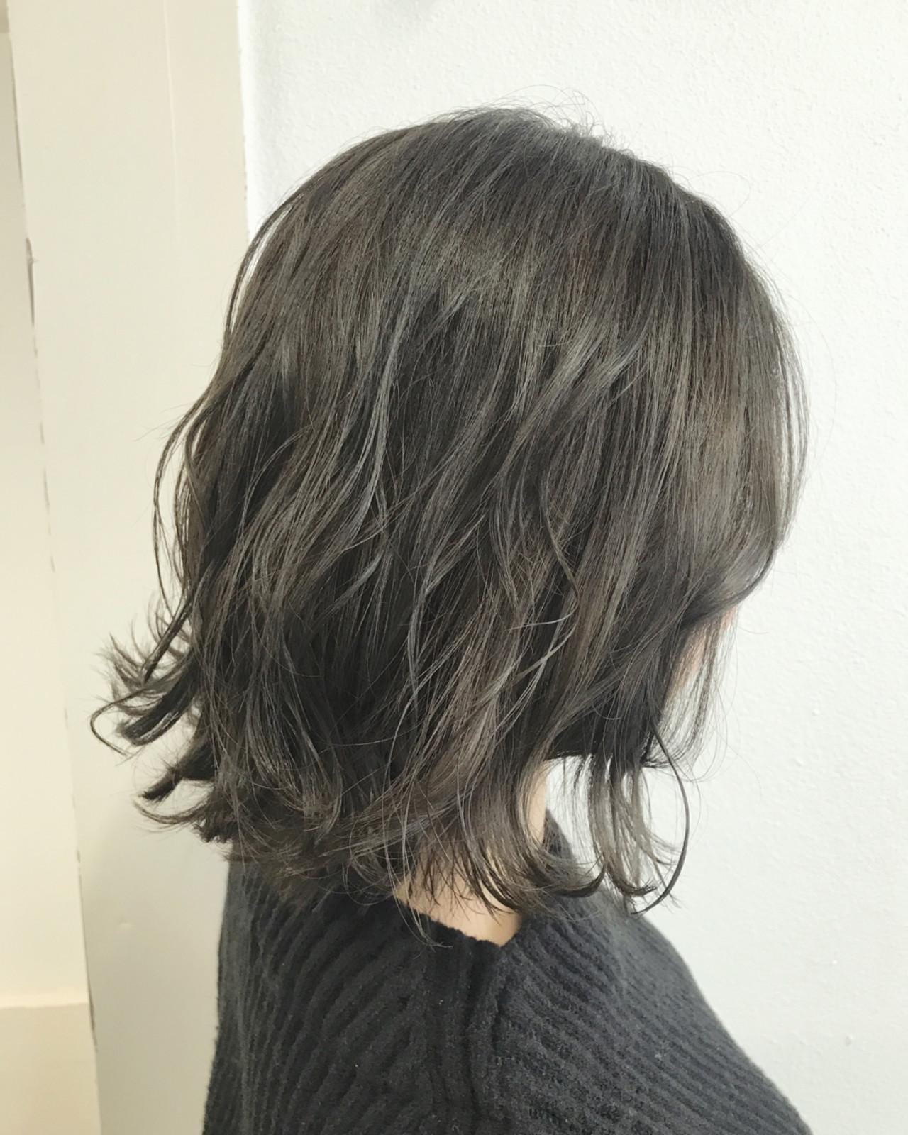 ボブ 透明感 オリーブアッシュ 外国人風カラー ヘアスタイルや髪型の写真・画像