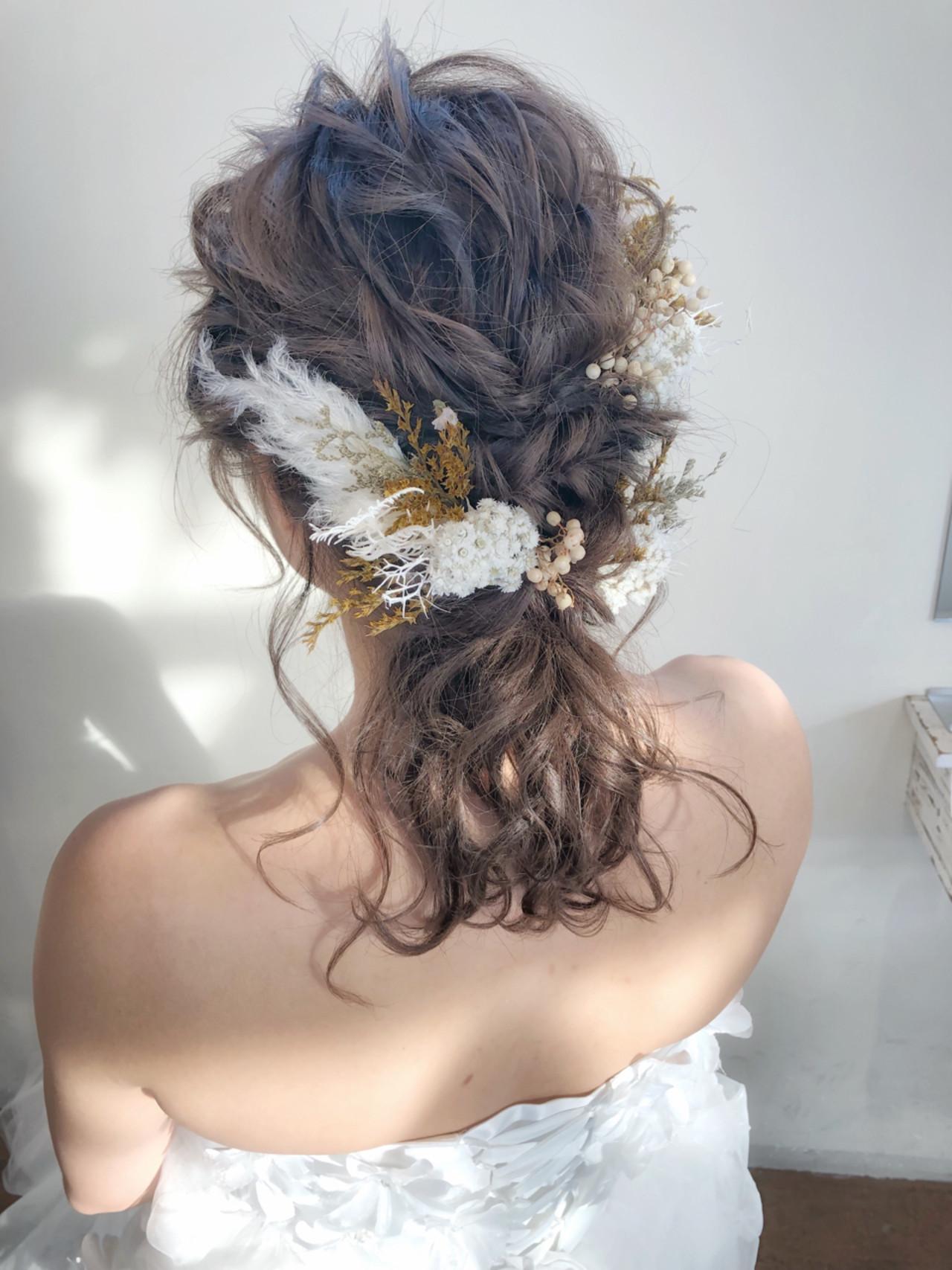 ナチュラル 花嫁 ブライダル 結婚式 ヘアスタイルや髪型の写真・画像
