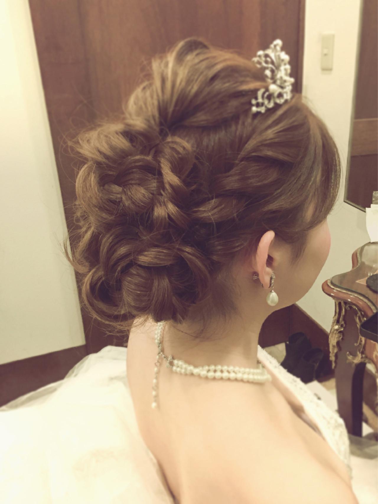 結婚式 セミロング 二次会 ヘアアレンジ ヘアスタイルや髪型の写真・画像