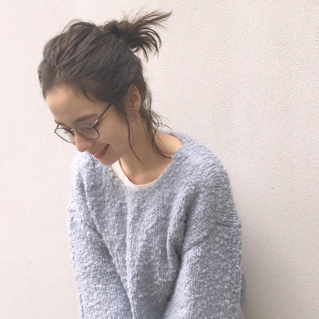 前髪なしのリラックスモードお団子ヘア 高田怜奈