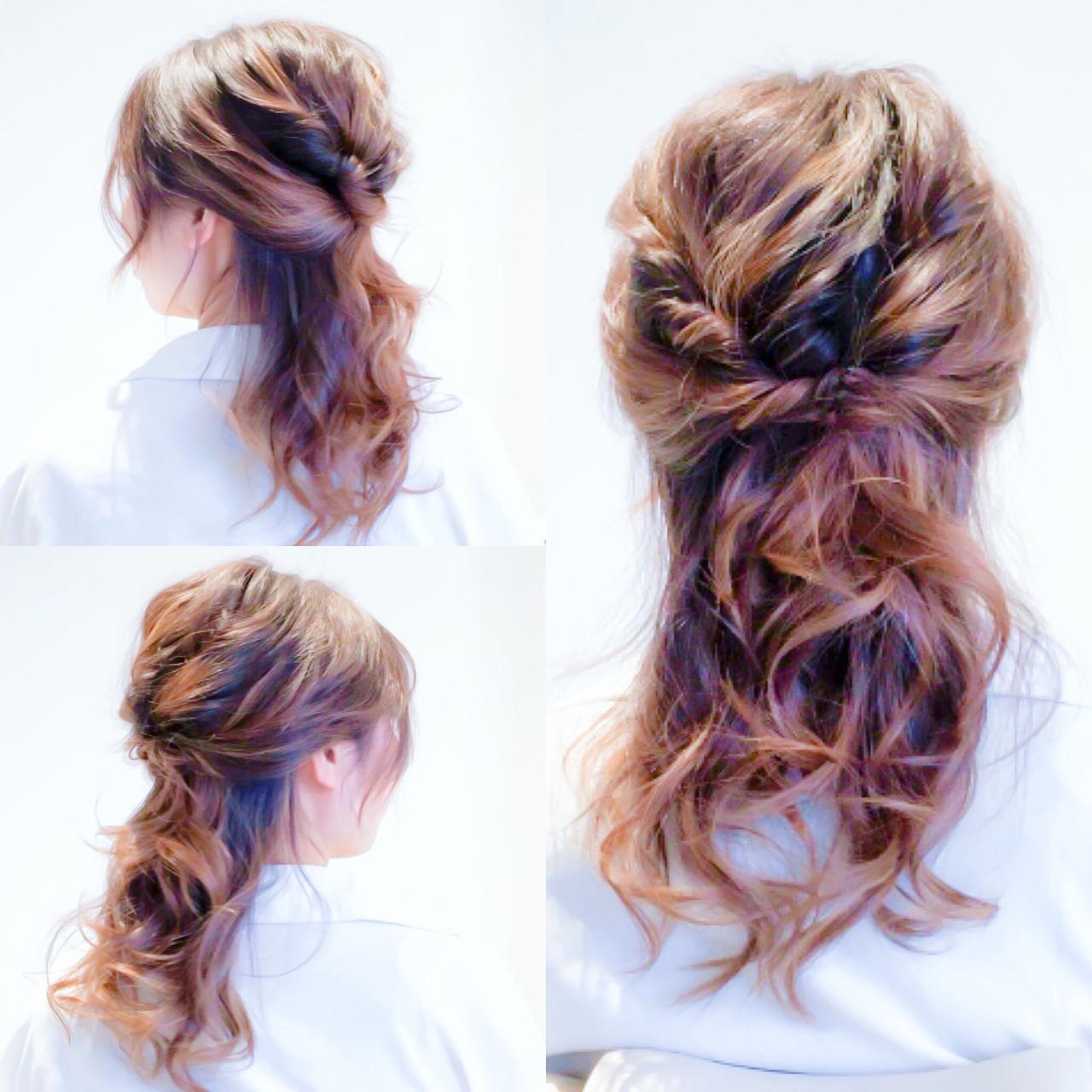 簡単ヘアアレンジ ハーフアップ デート ヘアアレンジ ヘアスタイルや髪型の写真・画像
