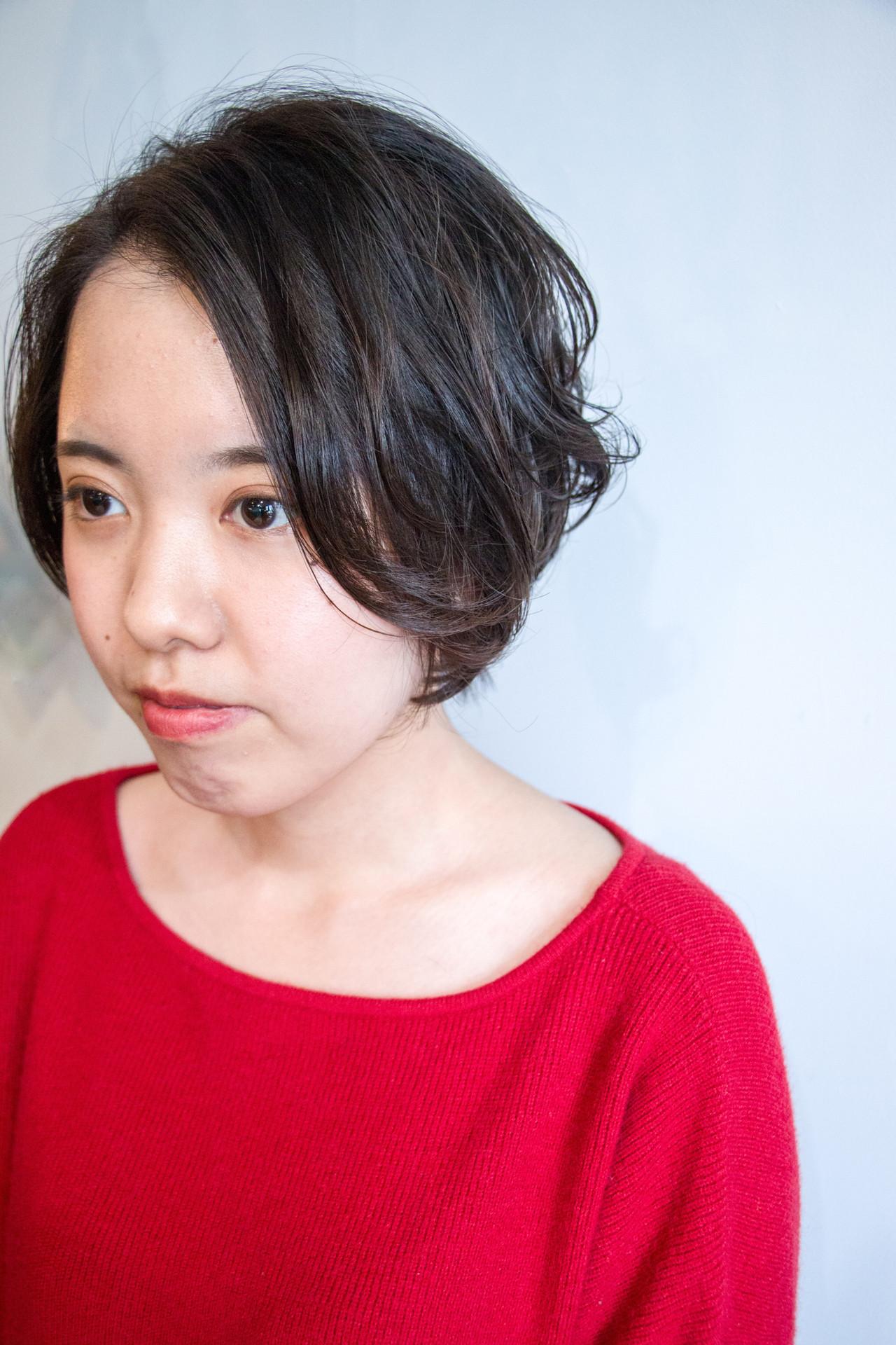 ナチュラル ショート 簡単 デジタルパーマ ヘアスタイルや髪型の写真・画像