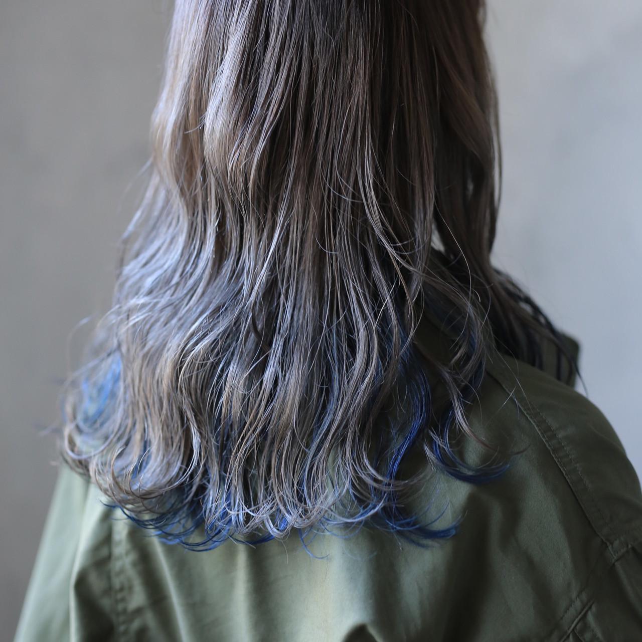 ブレ―×ブルーのモード系グレージュヘア 道具朝美