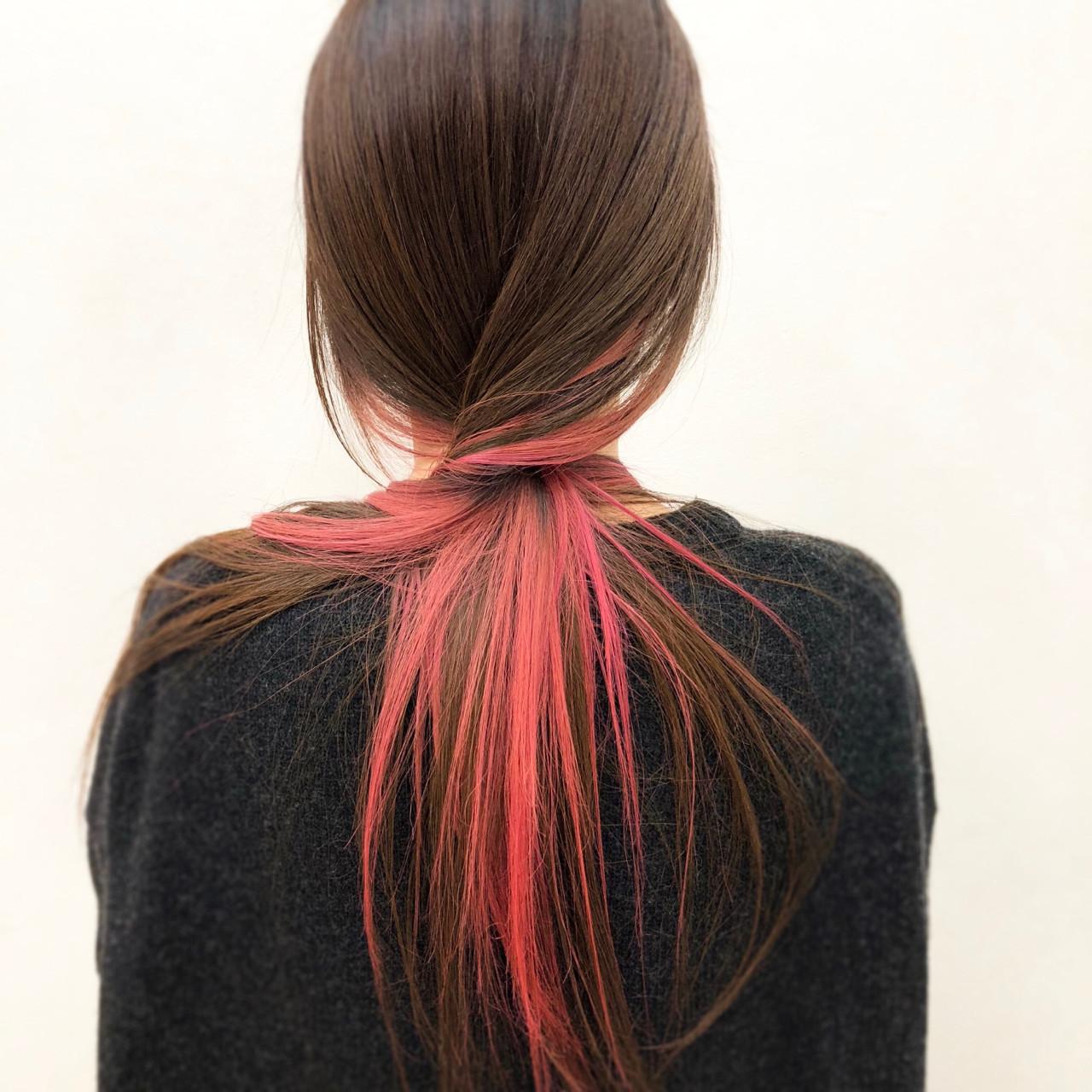 ロング ストレート ナチュラル インナーカラー ヘアスタイルや髪型の写真・画像