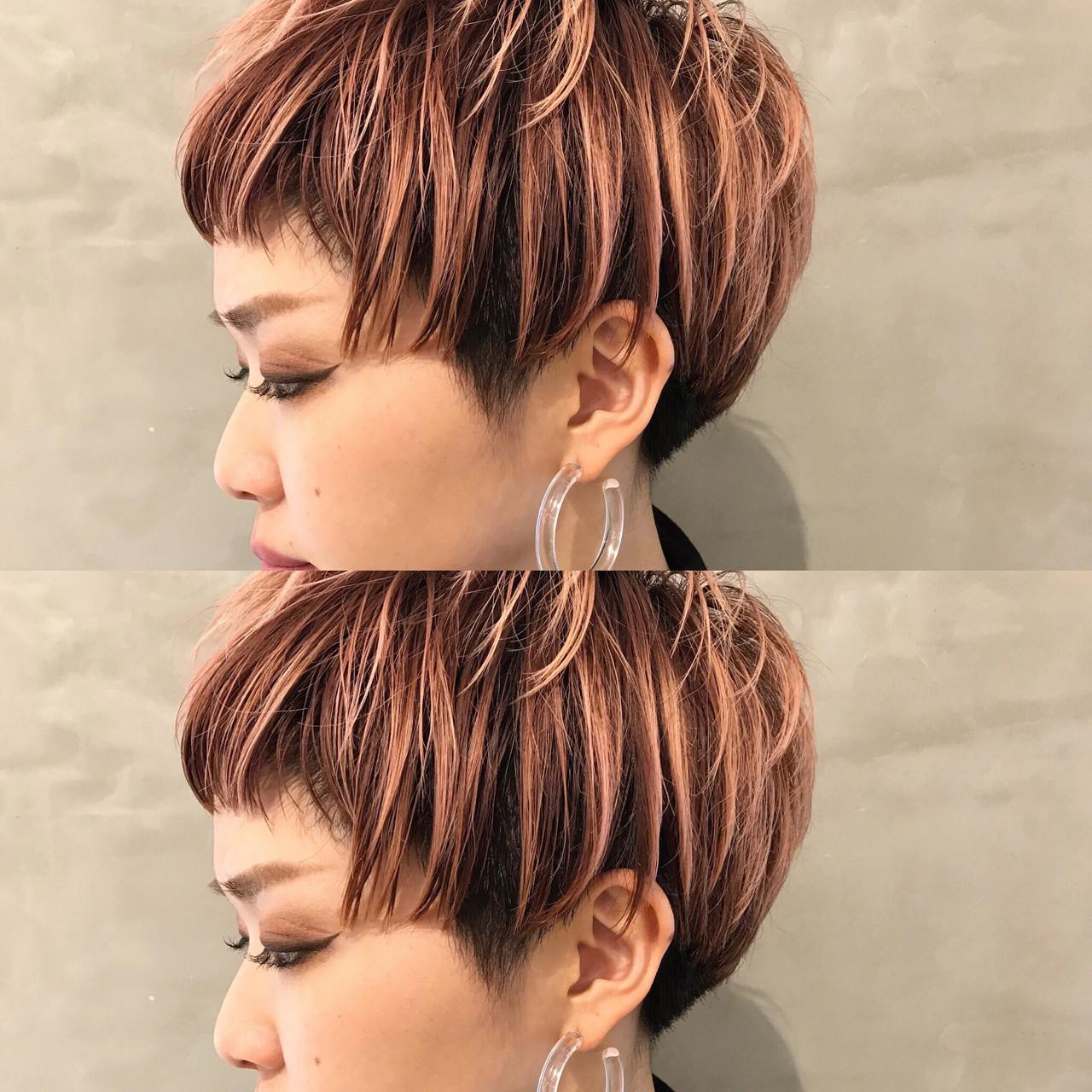 ベビーピンクと黒髪の組み合わせがクール 永島 稔久Salon ryu