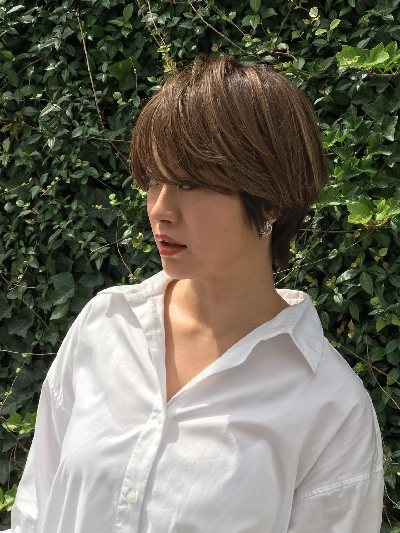 束感×流し前髪で女っぽさアップ 再現出来るショートヘア小山千覚
