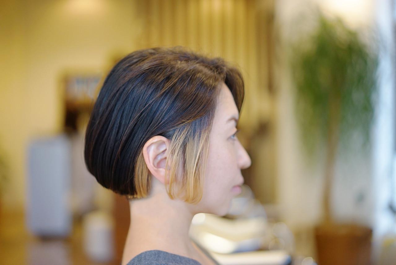 グラデーションボブ ボブ モード ワンレングラボブ ヘアスタイルや髪型の写真・画像