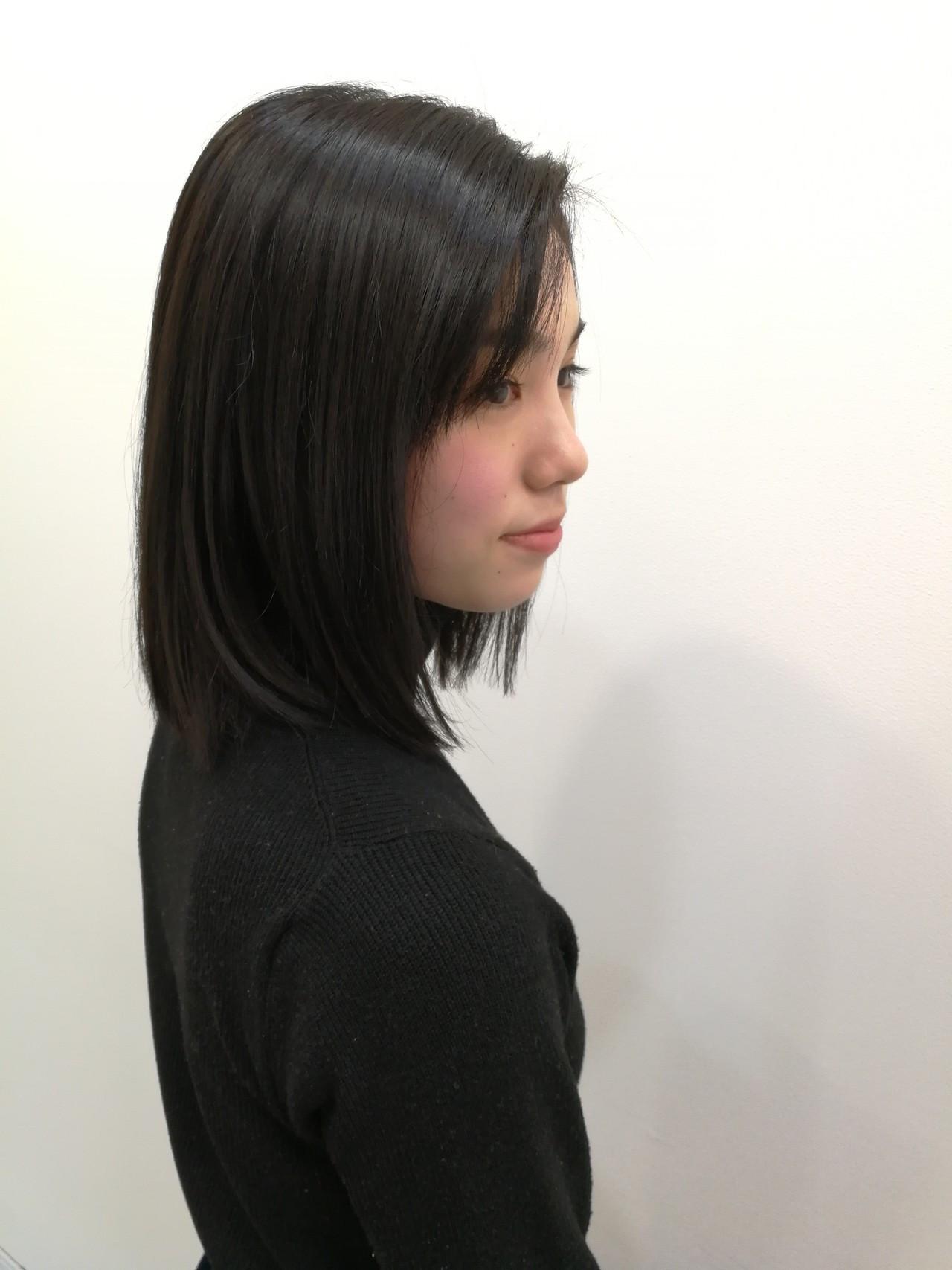 地毛風カラー 黒髪 大人可愛い ダークアッシュ ヘアスタイルや髪型の写真・画像