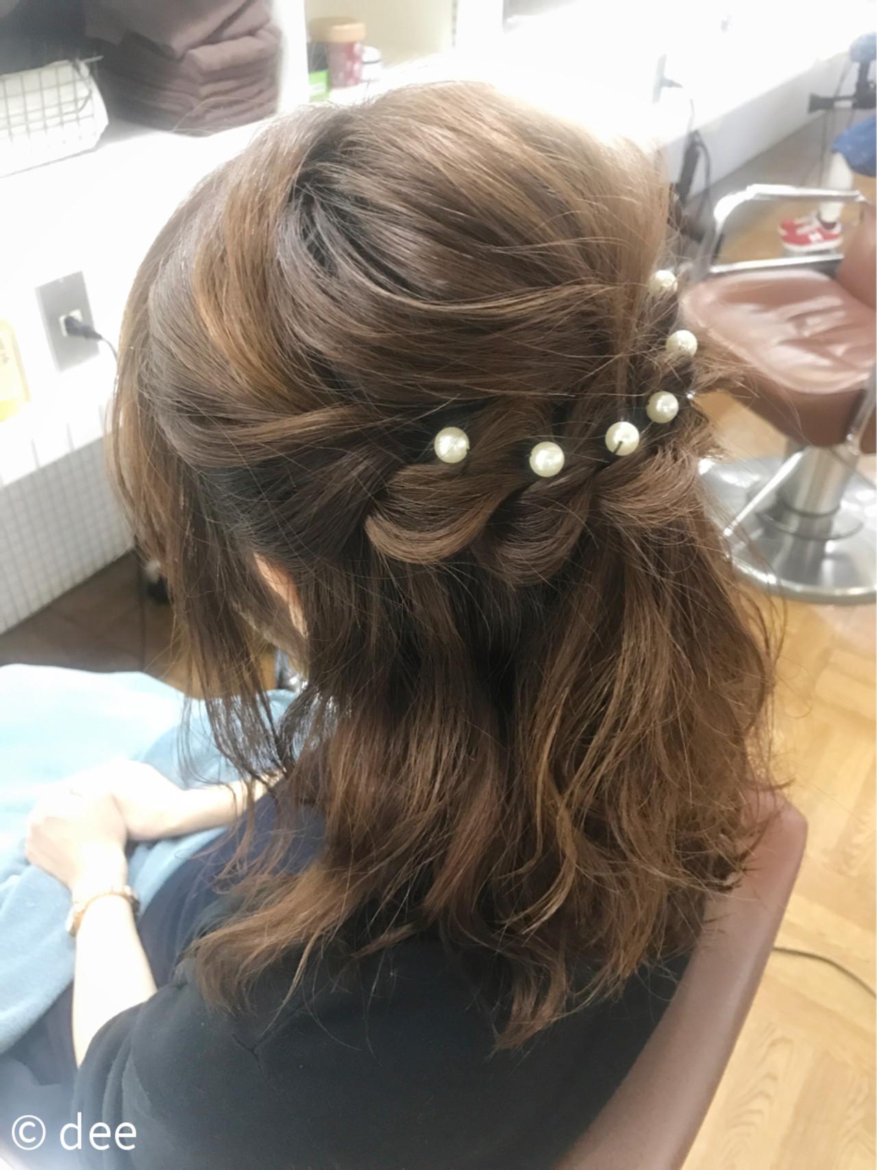 パールの髪飾りが素敵なハーフアップ dee