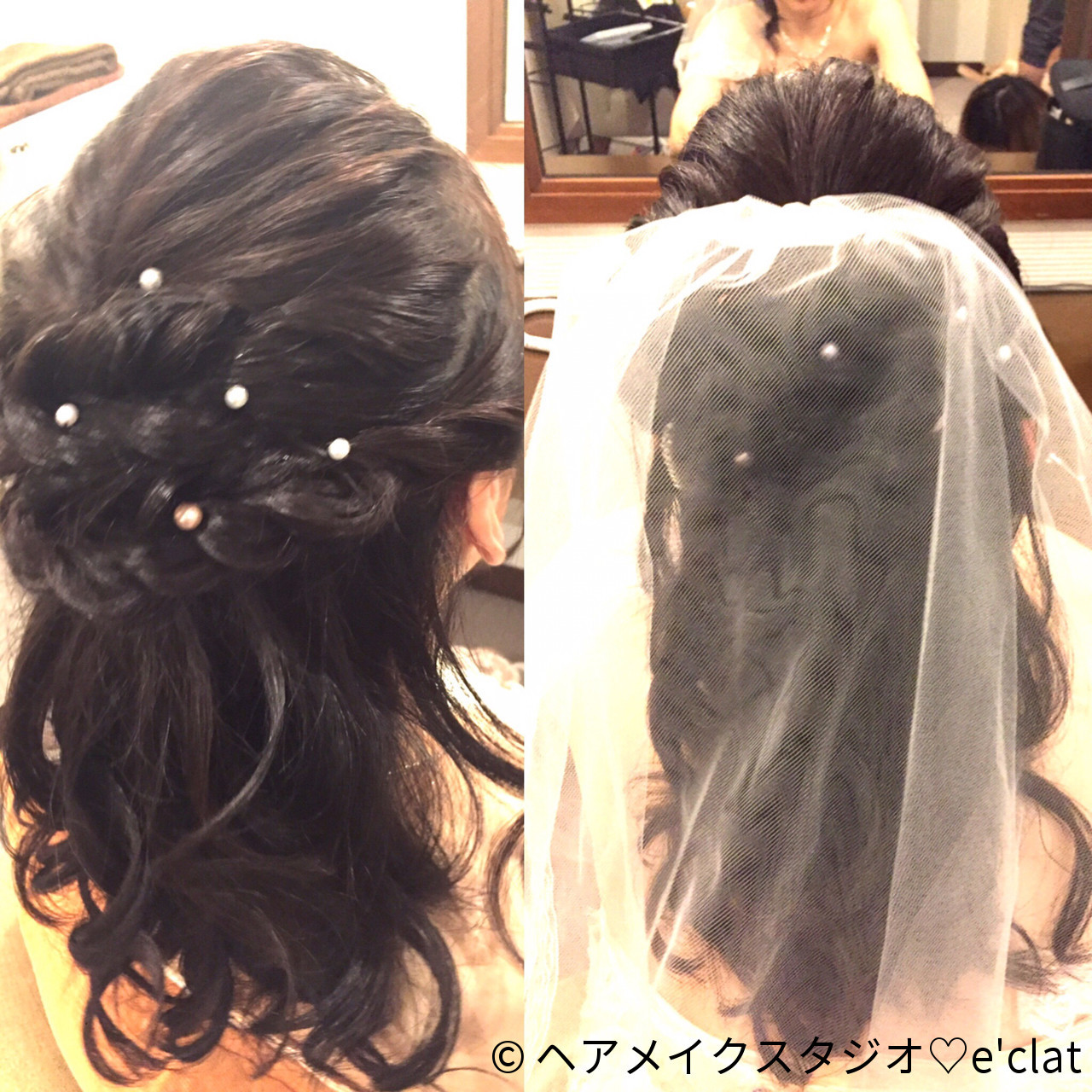 ヘアアレンジ セミロング 黒髪 花嫁 ヘアスタイルや髪型の写真・画像