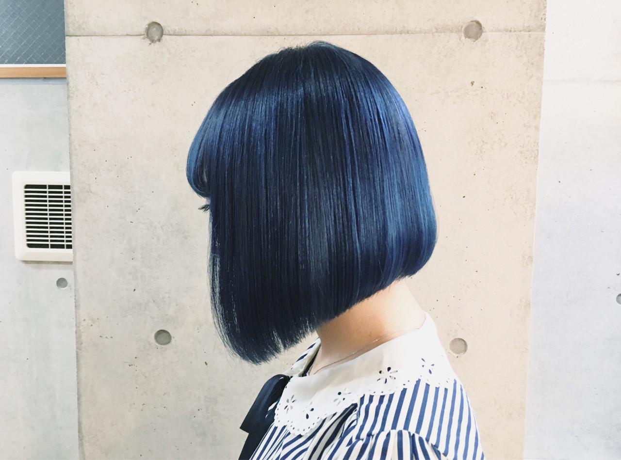 ネイビー ブルー ストリート ネイビーアッシュ ヘアスタイルや髪型の写真・画像