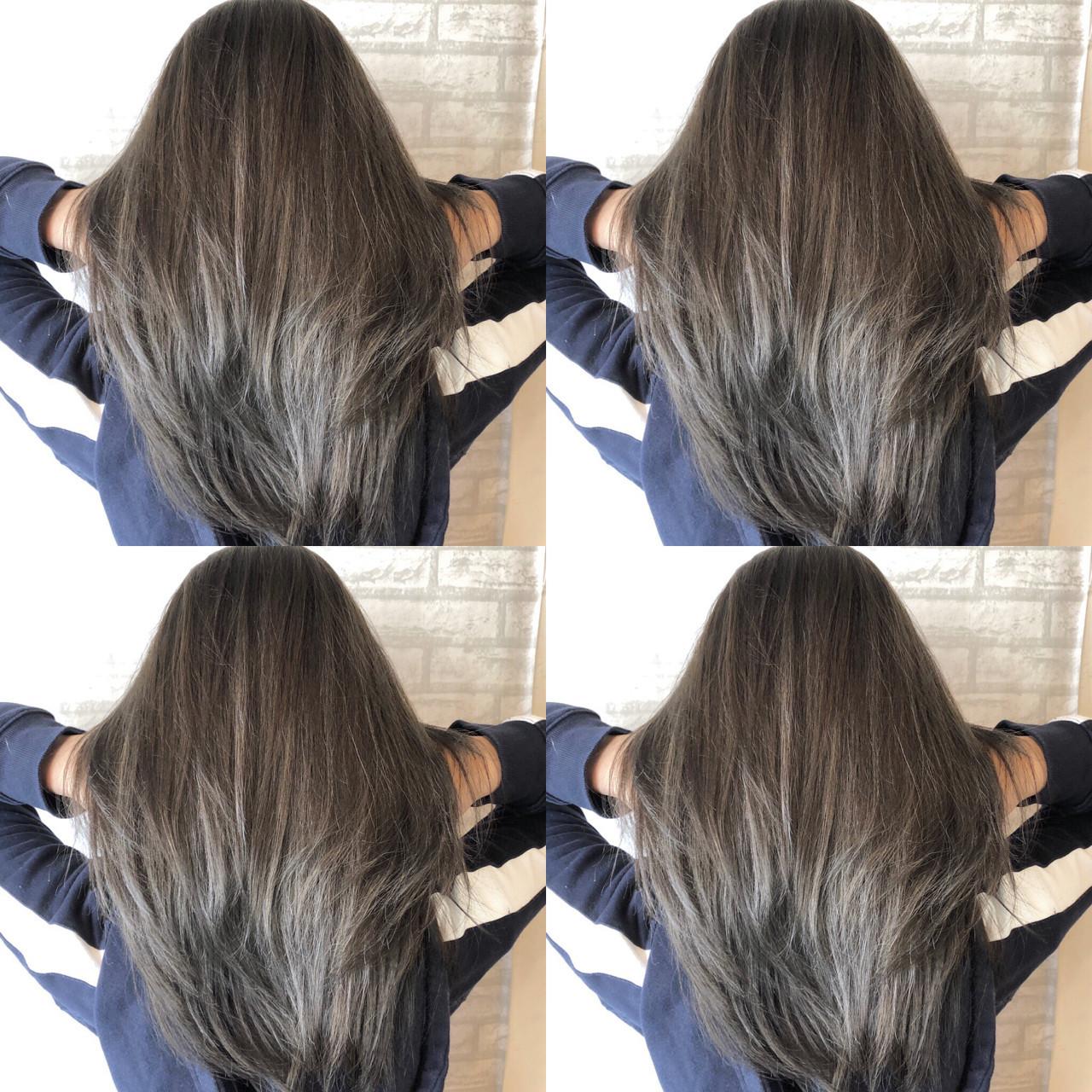 アッシュグレージュ アッシュ シルバーアッシュ ミディアム ヘアスタイルや髪型の写真・画像