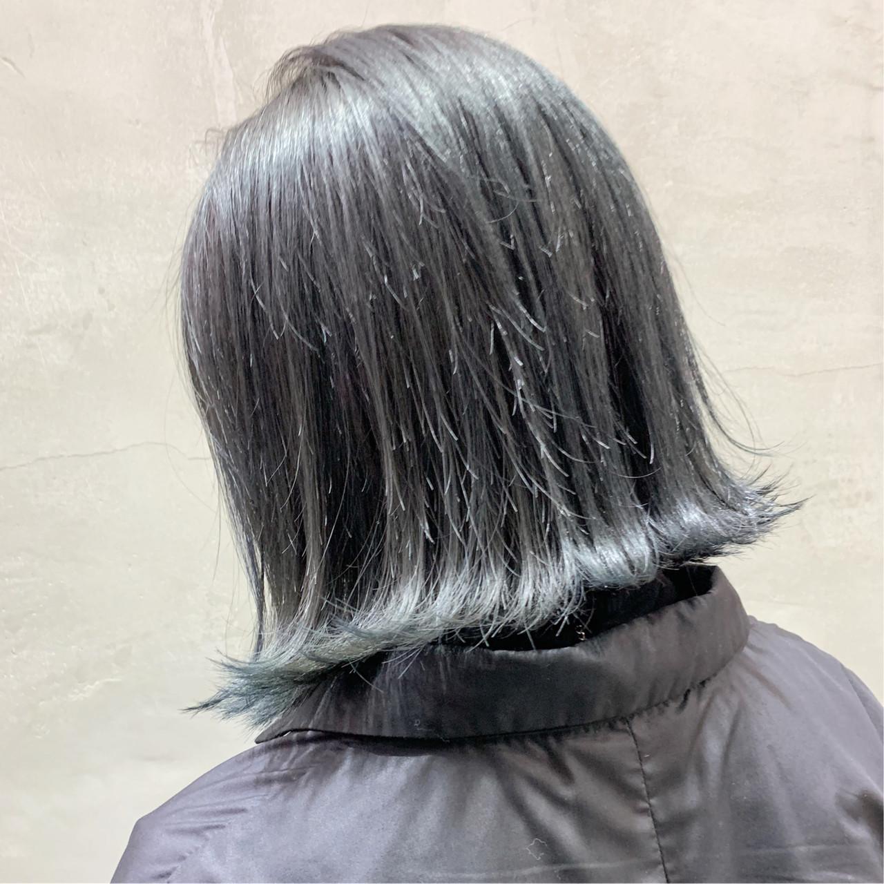 ボブ オフィス ハイライト バレイヤージュ ヘアスタイルや髪型の写真・画像