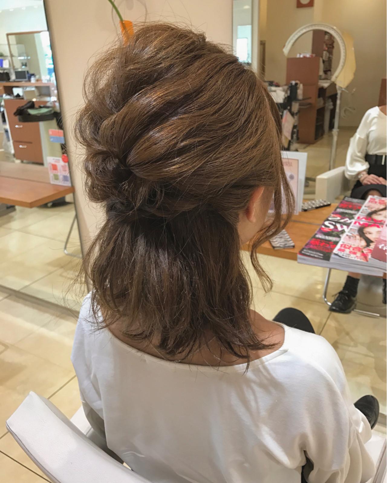 ミディアム ブライダル ショート 簡単ヘアアレンジ ヘアスタイルや髪型の写真・画像