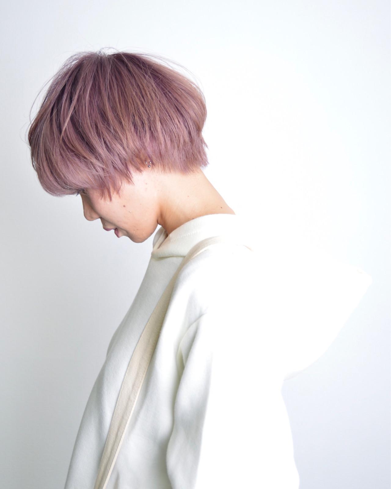 ニュアンス ラベンダーピンク ショート モード ヘアスタイルや髪型の写真・画像