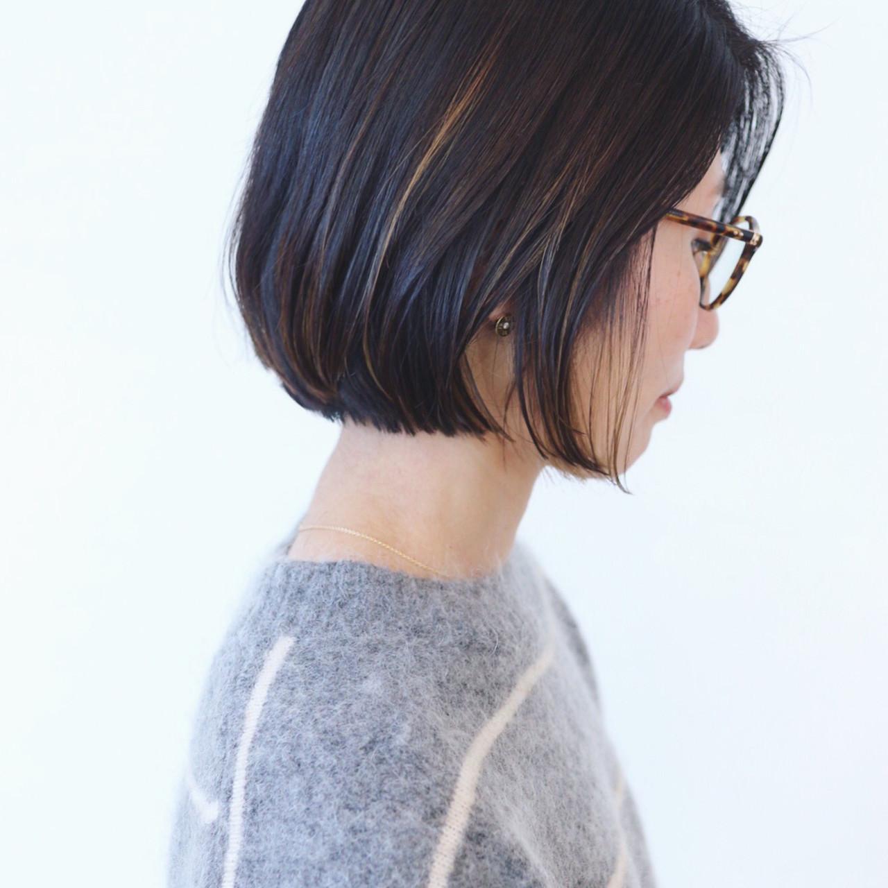 オフィス グラデーションカラー 黒髪 ハイライト ヘアスタイルや髪型の写真・画像