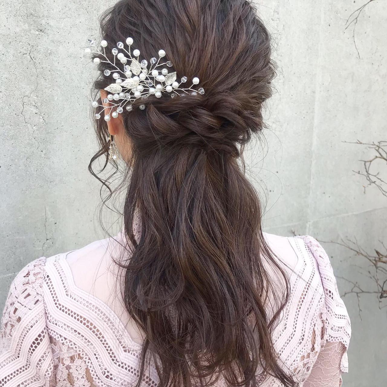 花嫁ヘアはハーフアップでかわいく♡レングス別きれいめスタイル