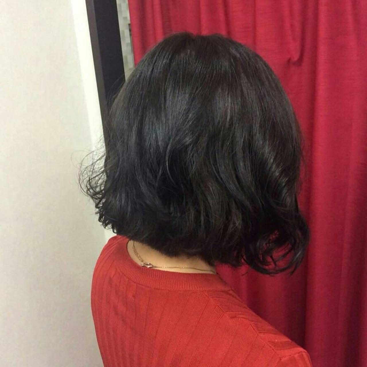 ナチュラル ボブ グレーアッシュ ボブヘアー ヘアスタイルや髪型の写真・画像