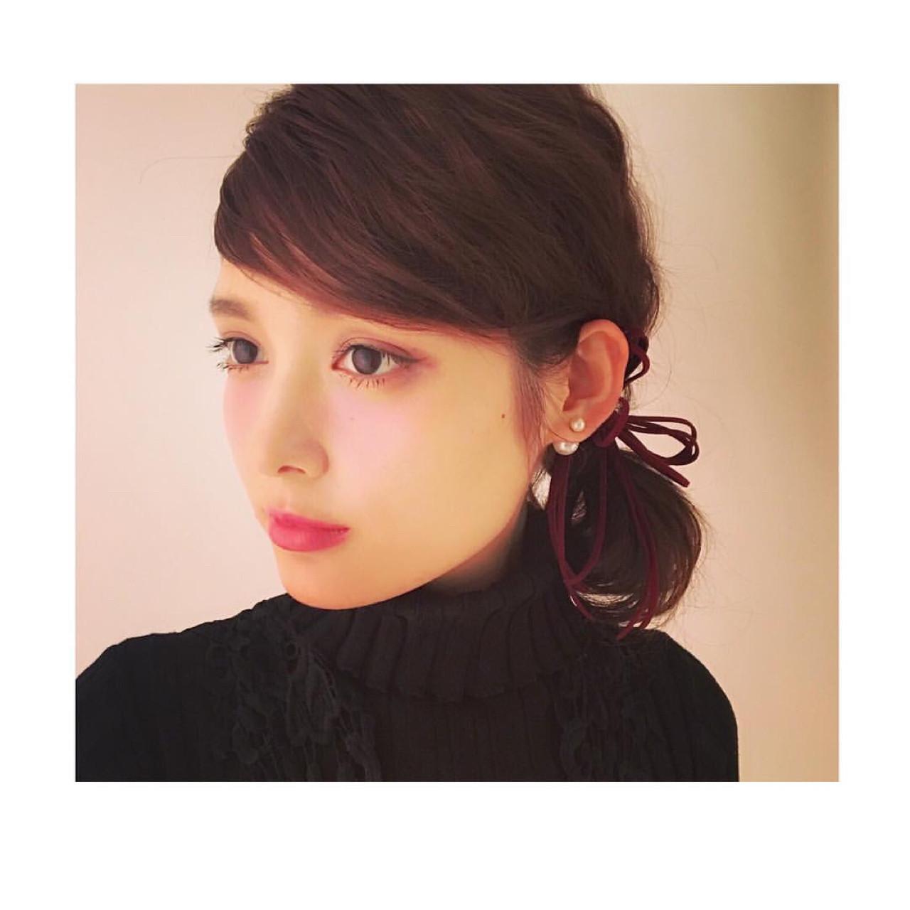 ミディアム フェミニン 前髪あり 外国人風 ヘアスタイルや髪型の写真・画像