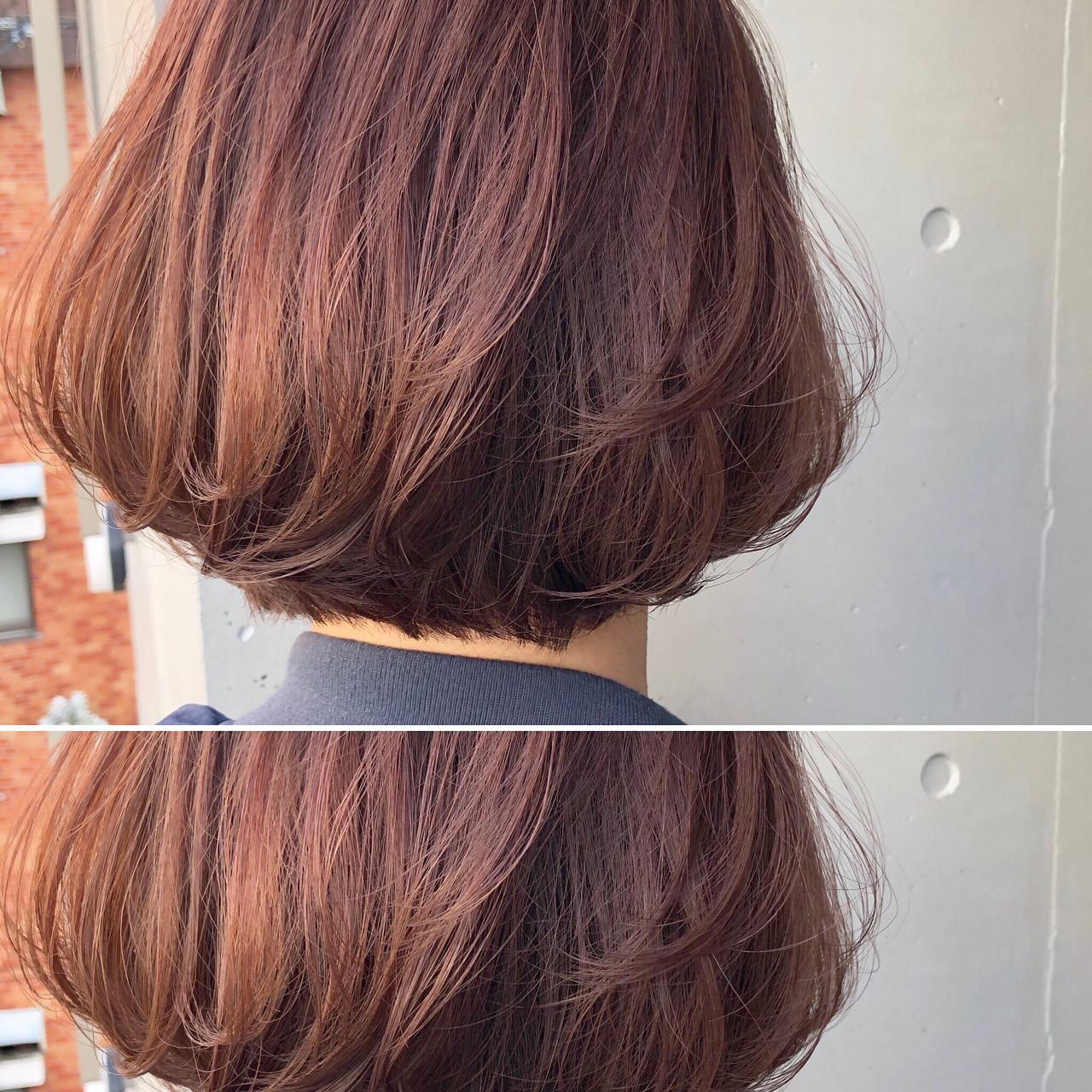 大人女子 ピンクアッシュ ボブ ベージュ ヘアスタイルや髪型の写真・画像