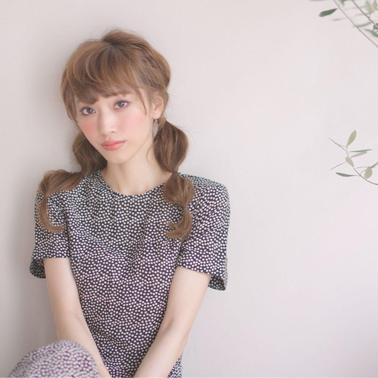 モテ髪 大人かわいい ツインテール 春 ヘアスタイルや髪型の写真・画像