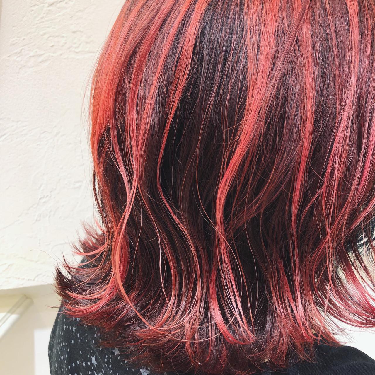ストリート ガーリー レッド ミディアム ヘアスタイルや髪型の写真・画像