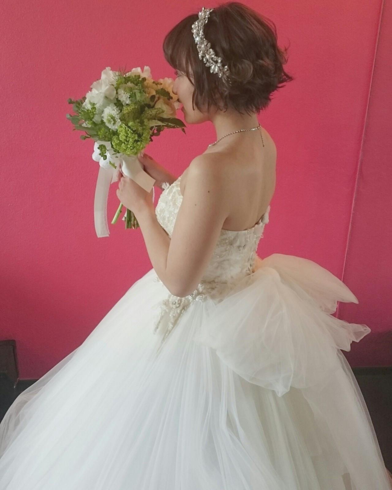 ブライダル ドレス ゆるふわ ガーリー ヘアスタイルや髪型の写真・画像