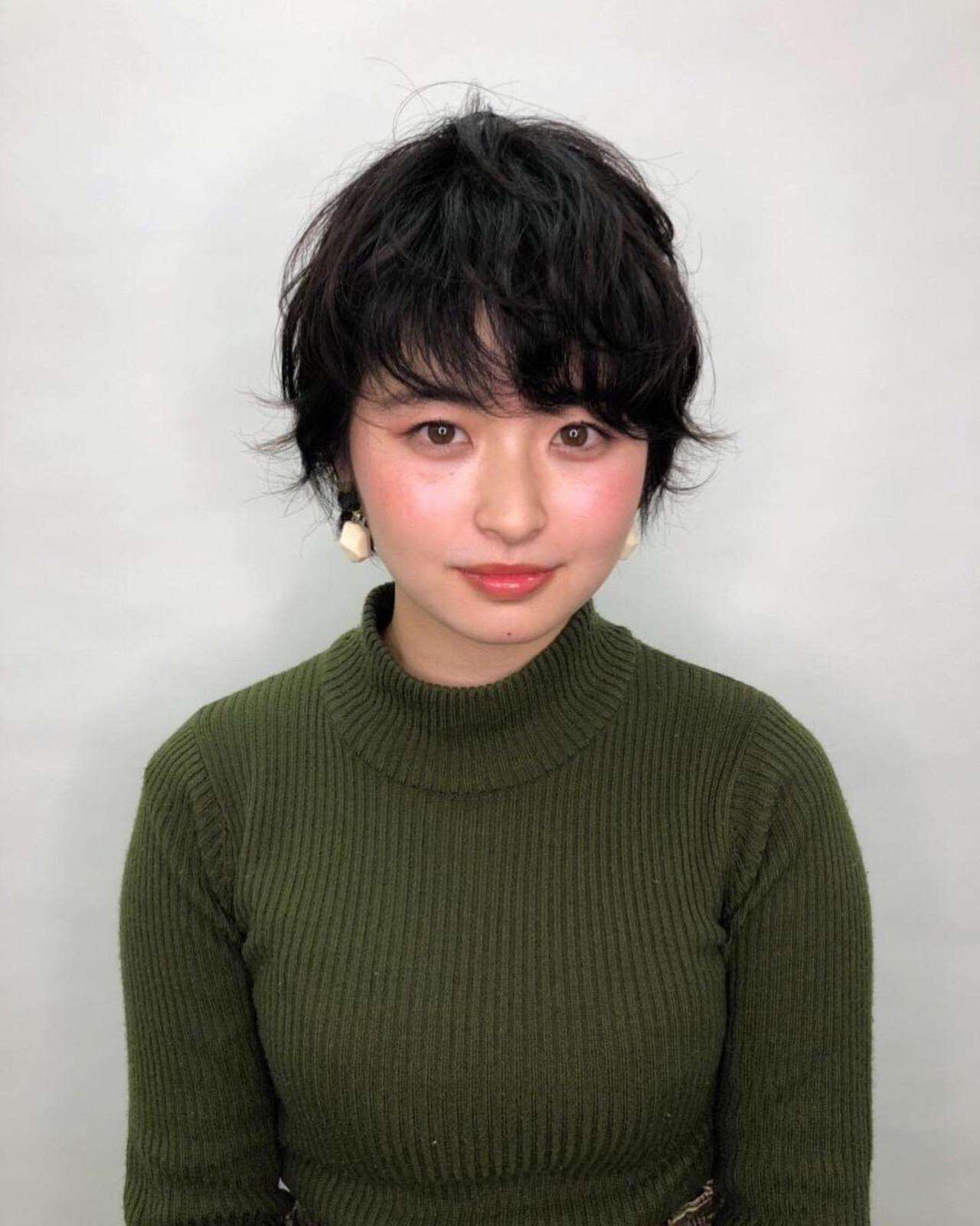 ボーイッシュ 丸顔 ヘアアレンジ ショート ヘアスタイルや髪型の写真・画像