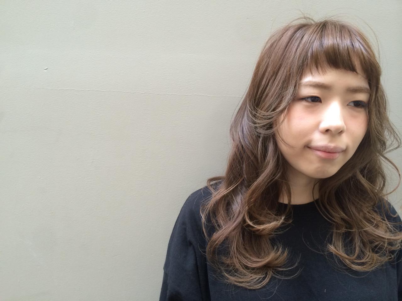 短め前髪がかわいいパーマロング 杉田 麻美