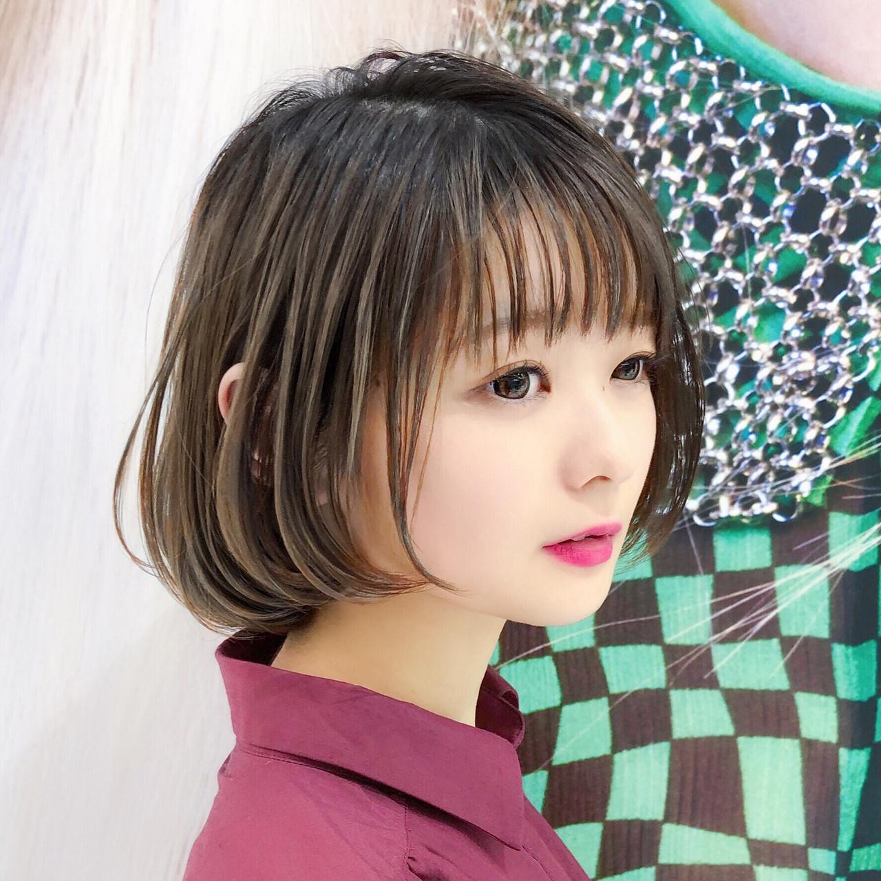 大人かわいい レイヤー ハイライト モテボブ ヘアスタイルや髪型の写真・画像