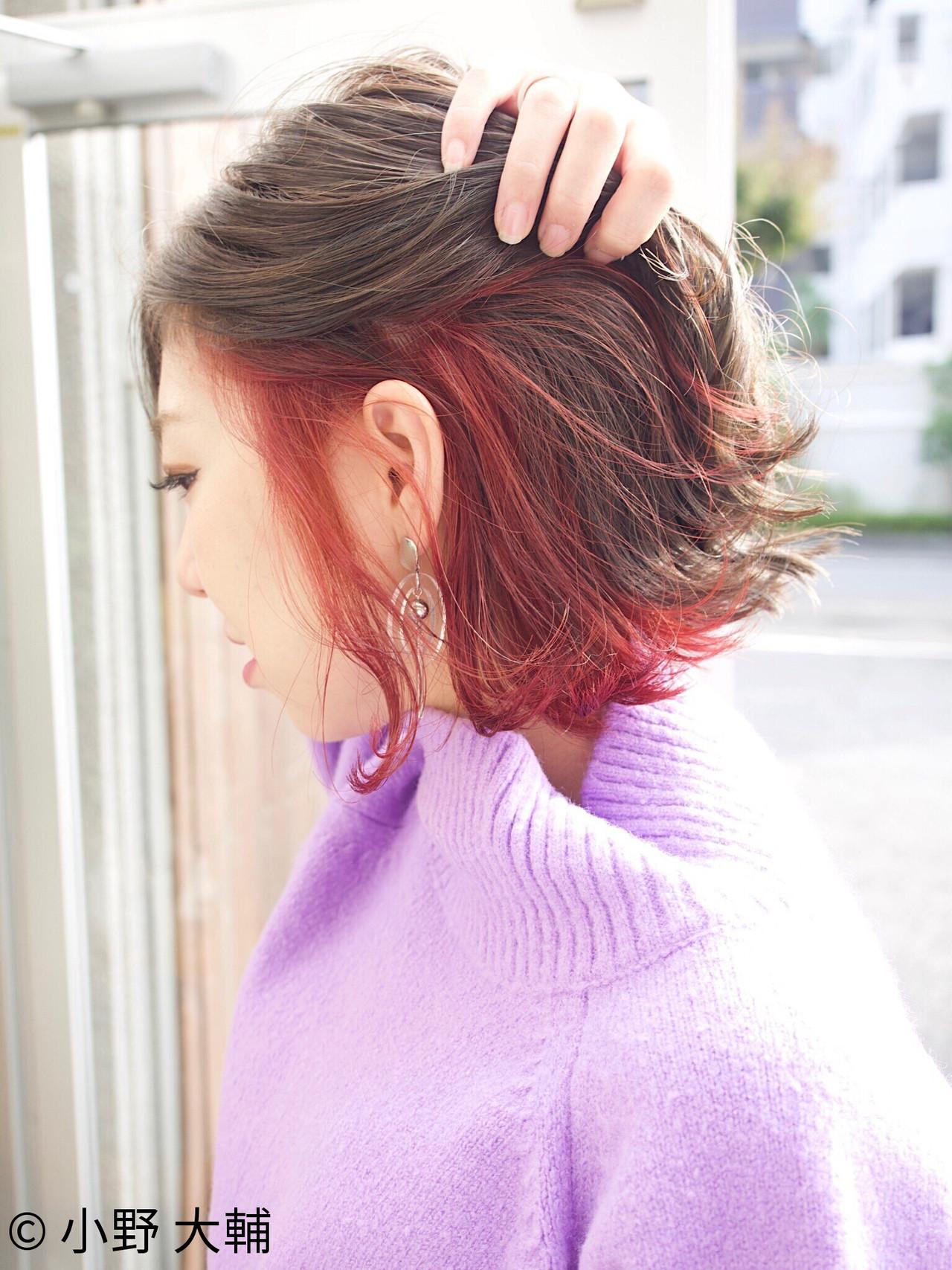 インナーカラー ボブ 外国人風カラー グレージュ ヘアスタイルや髪型の写真・画像