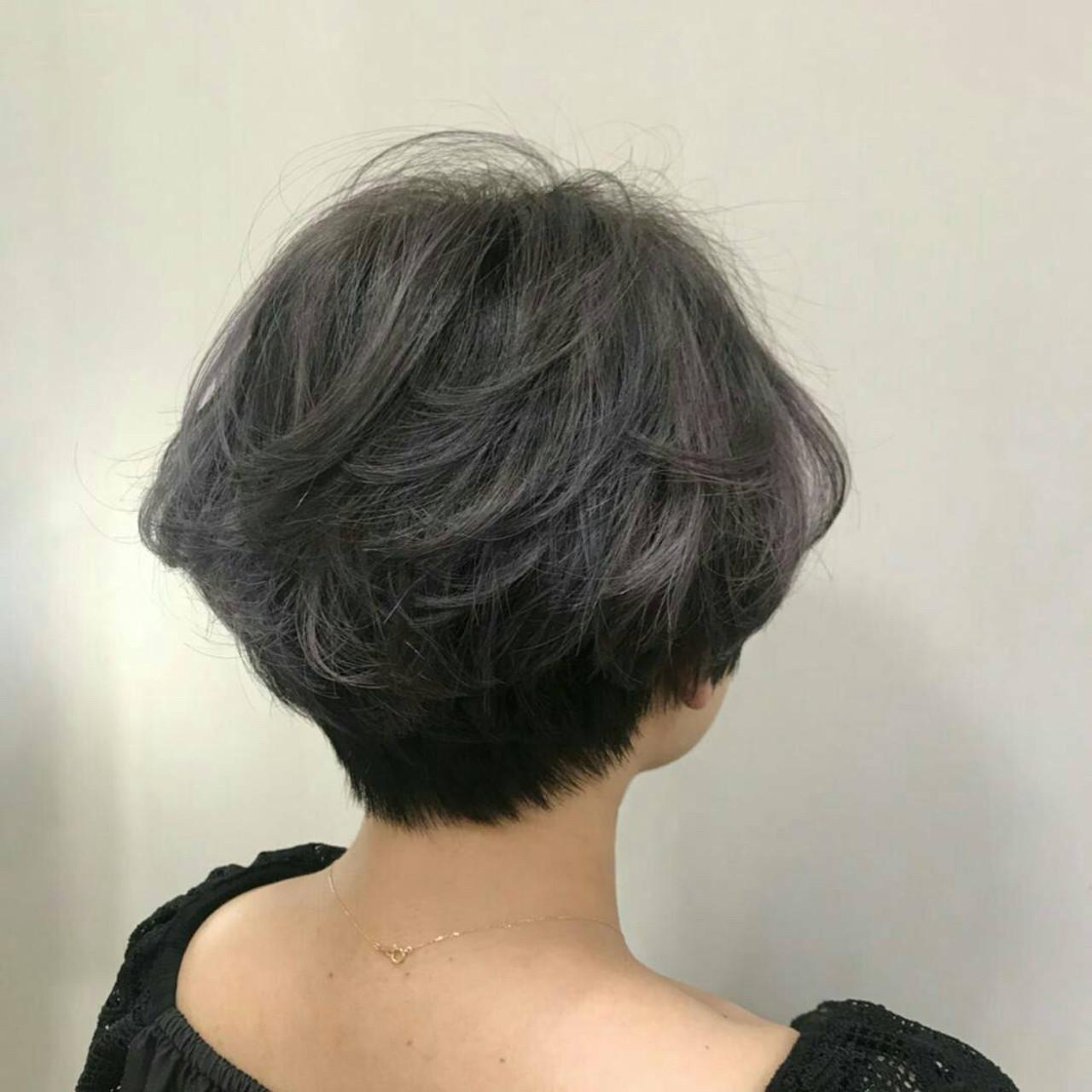 モード 福岡市 グレーアッシュ 外国人風カラー ヘアスタイルや髪型の写真・画像