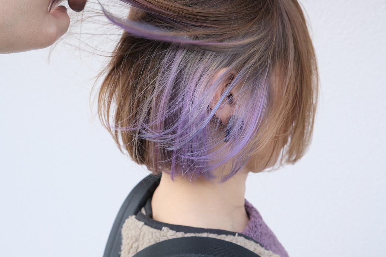 インナーカラー ブリーチカラー ストリート ボブ ヘアスタイルや髪型の写真・画像