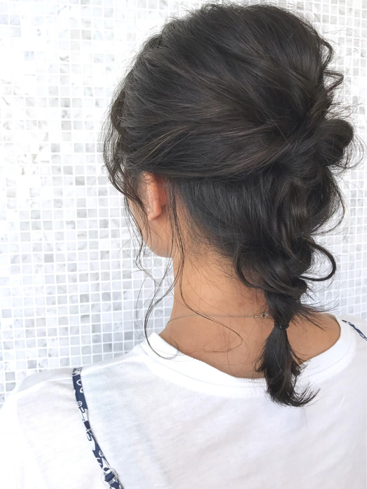 簡単ヘアアレンジ アッシュ デート ガーリー ヘアスタイルや髪型の写真・画像