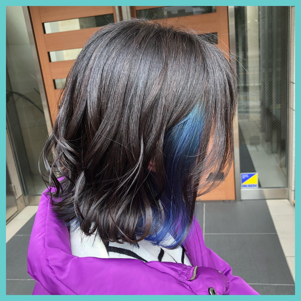 外国人風カラー 濡れ髪スタイル #インナーカラー ボブ ヘアスタイルや髪型の写真・画像