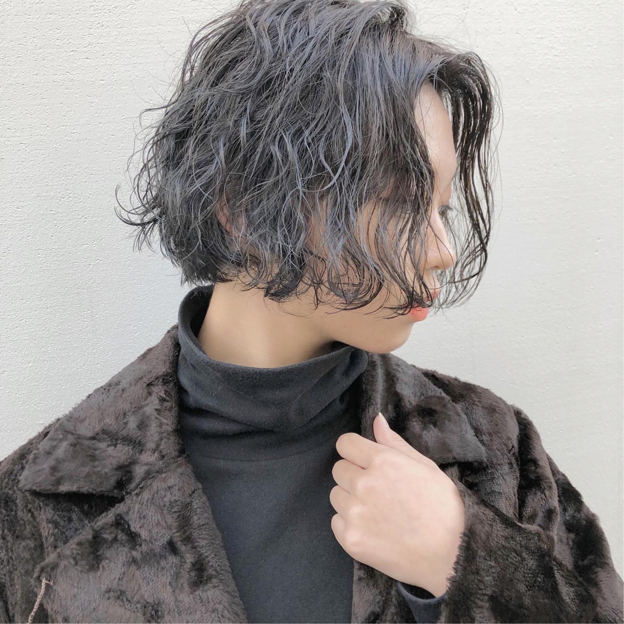 ストリート ニュアンスヘア ハンサムショート ボブ ヘアスタイルや髪型の写真・画像
