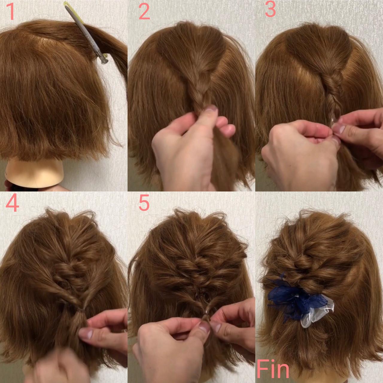 三つ編み×くるりんぱ!デートにピッタリかわいいヘア hiroki