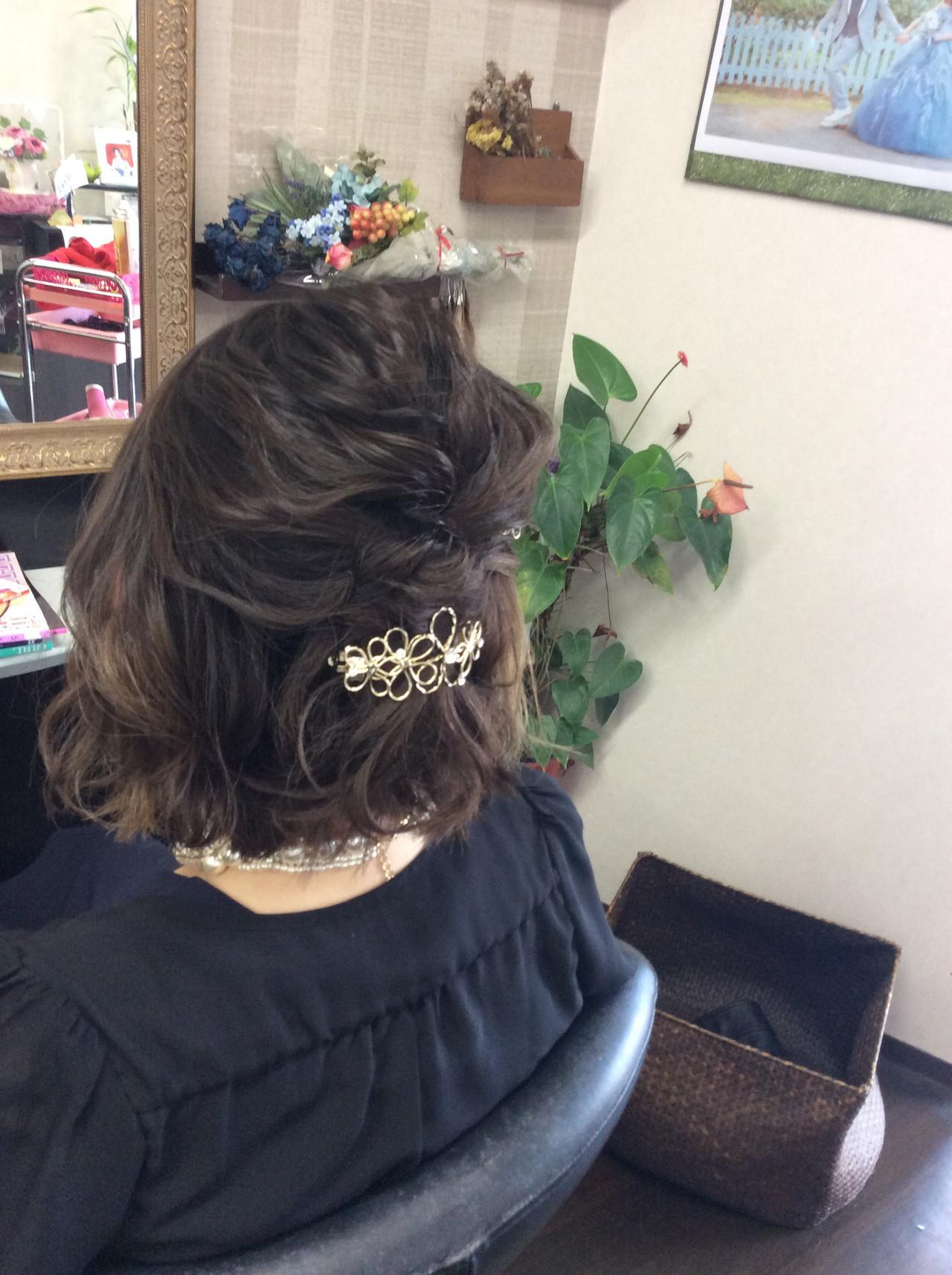 ボブ 簡単ヘアアレンジ 結婚式 ヘアアレンジ ヘアスタイルや髪型の写真・画像