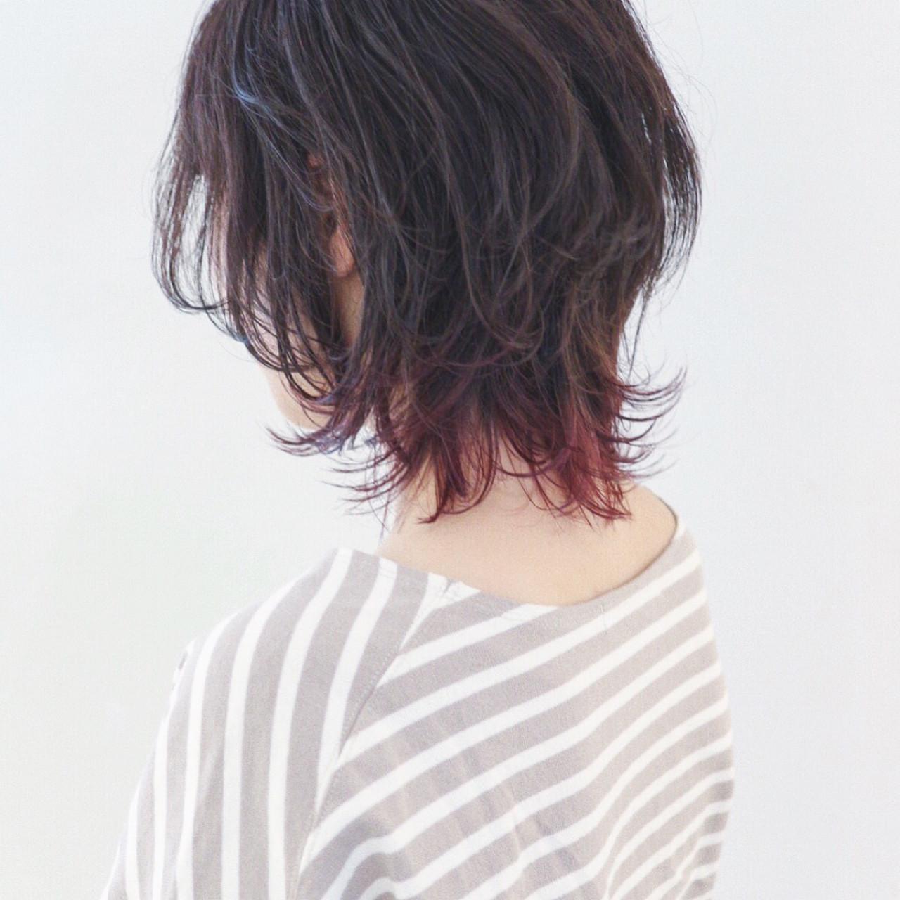 外ハネ グラデーションカラー マッシュ ストリート ヘアスタイルや髪型の写真・画像