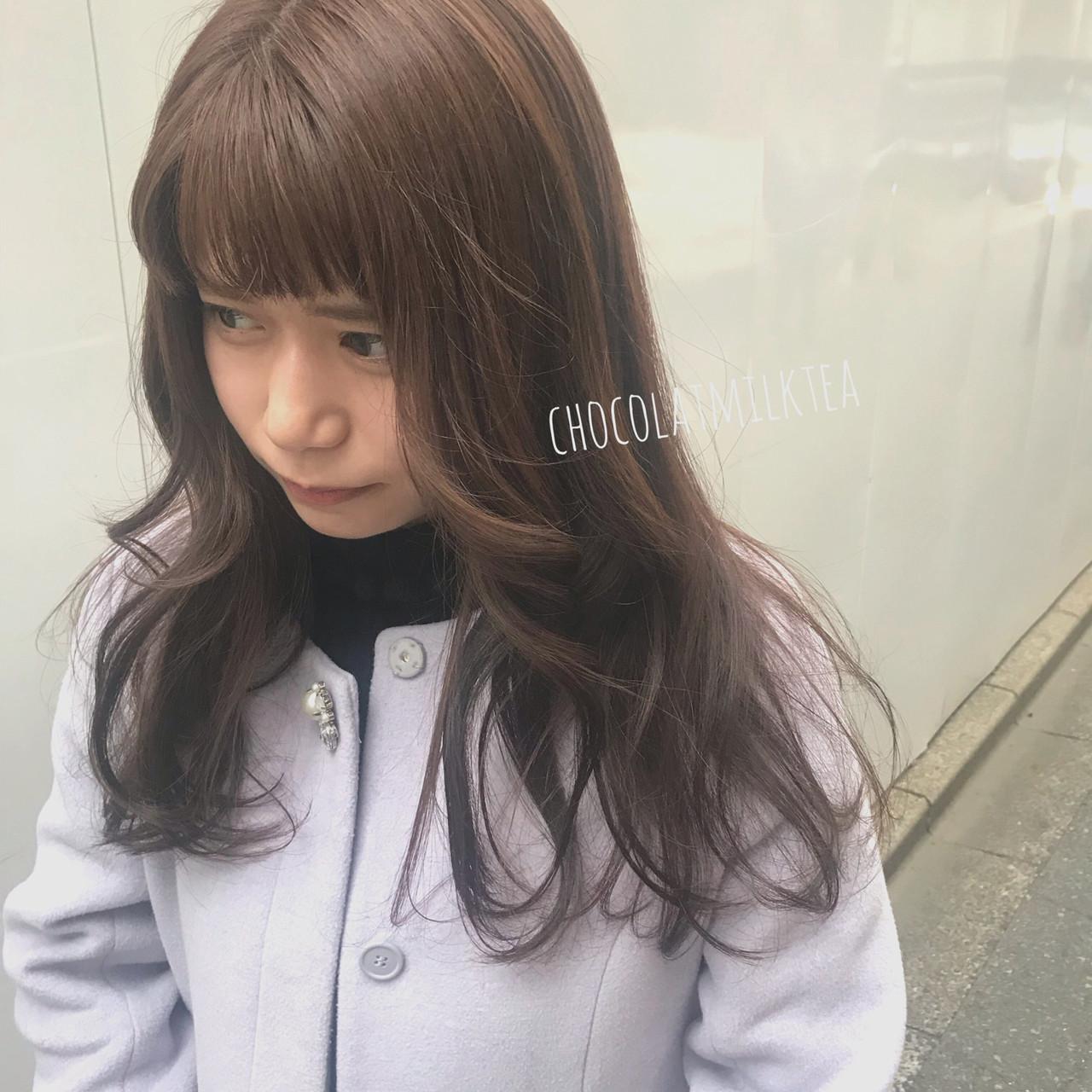 ナチュラル ショコラブラウン ミルクティーベージュ ヘアアレンジ ヘアスタイルや髪型の写真・画像