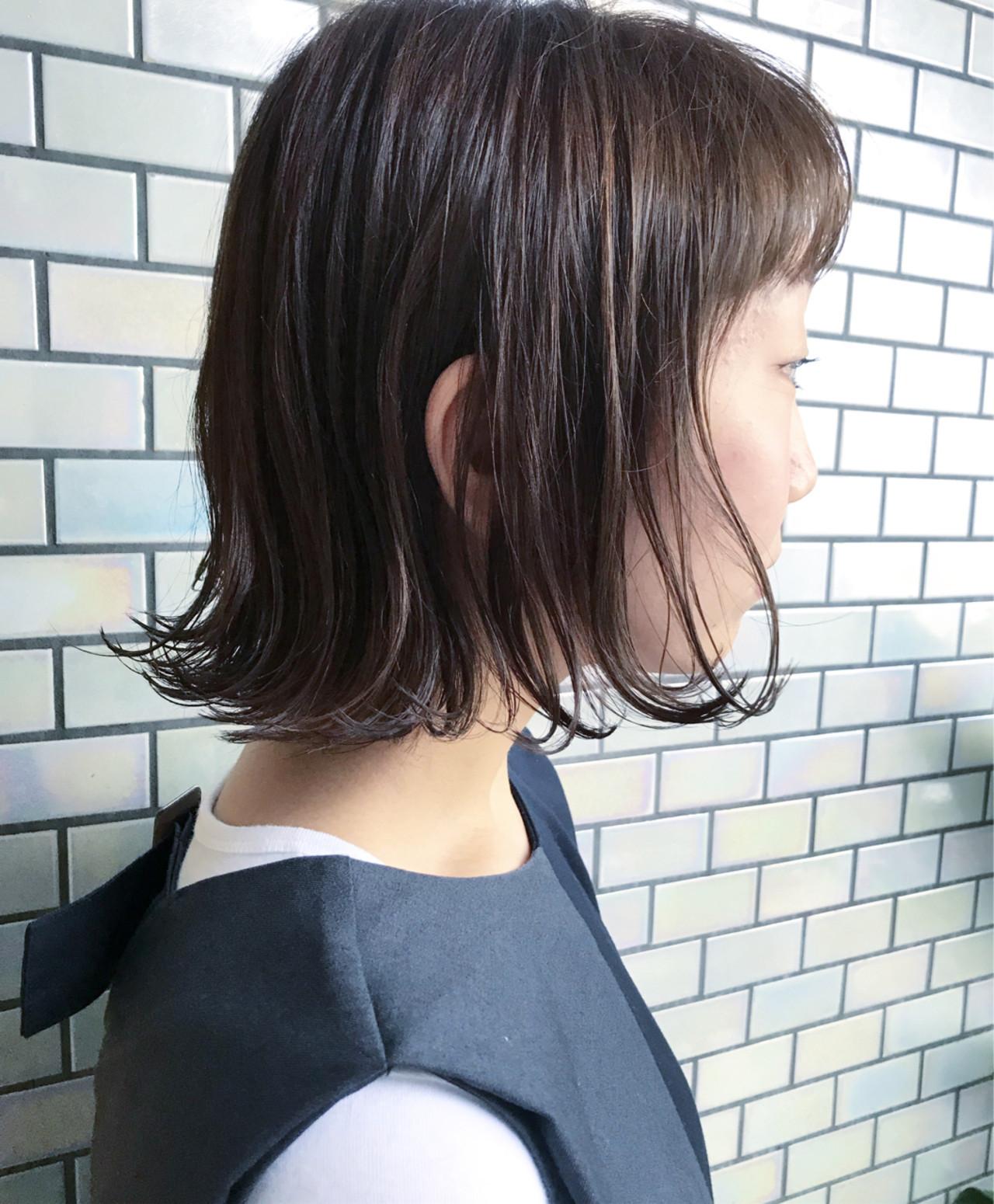 内巻き ボブ 切りっぱなし ワンカール ヘアスタイルや髪型の写真・画像