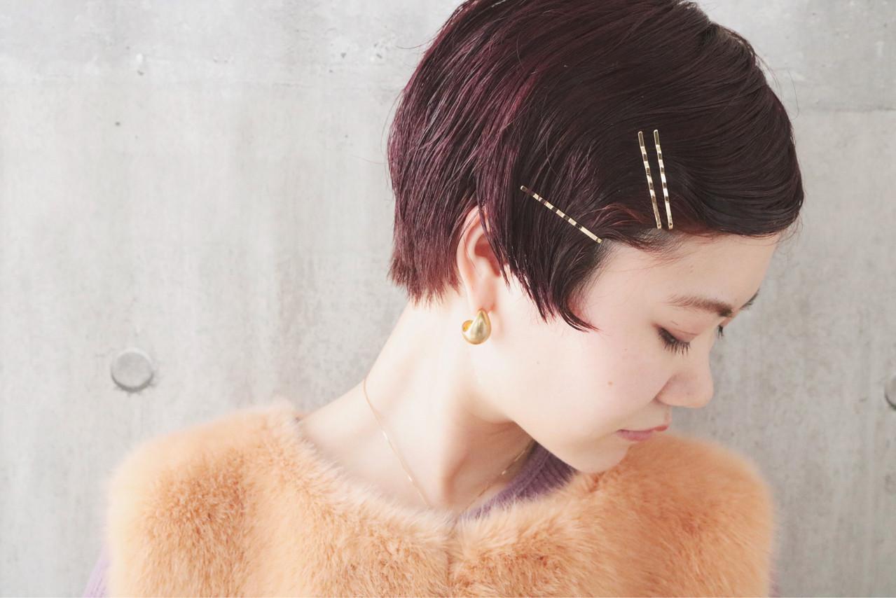 ショート パーマ アンニュイほつれヘア ピンクバイオレット ヘアスタイルや髪型の写真・画像