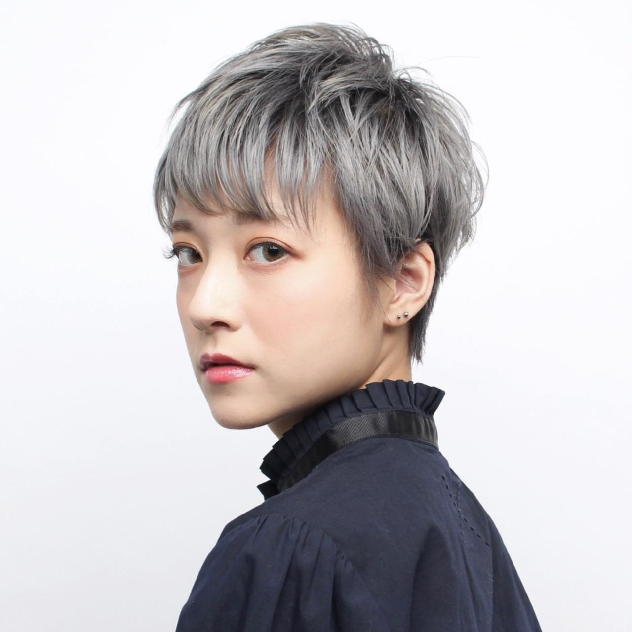 簡単ヘアアレンジ イメチェン ショート 大人ショート ヘアスタイルや髪型の写真・画像