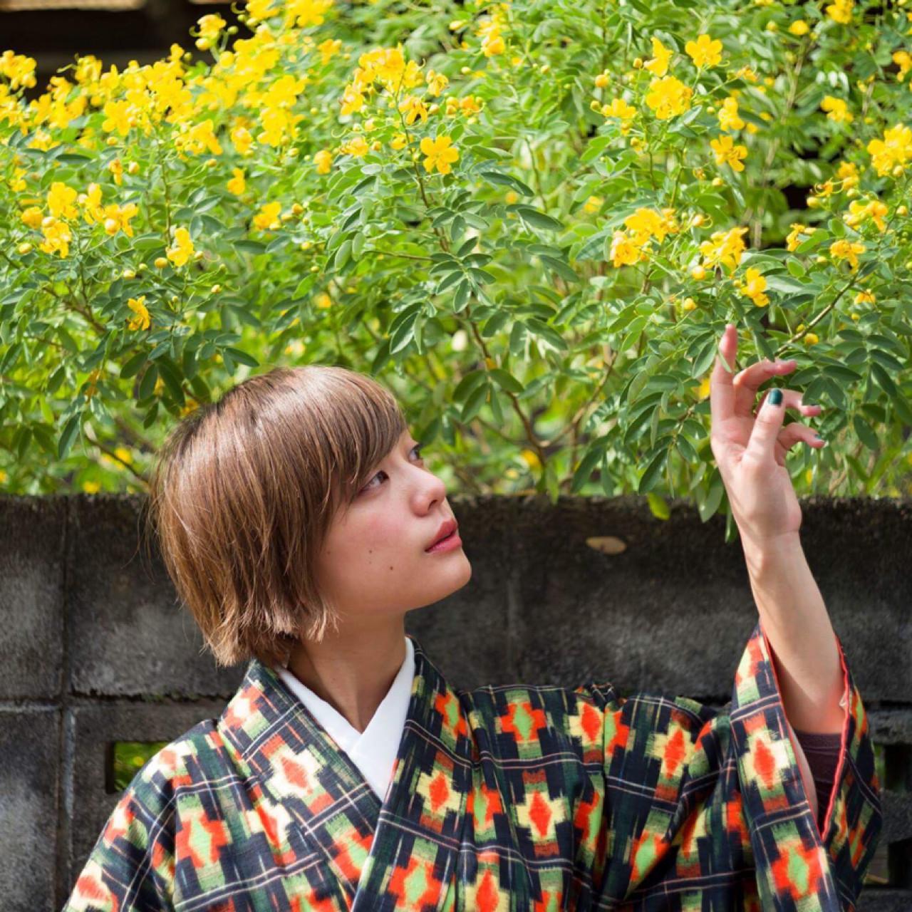ナチュラル 着物 ショート 簡単ヘアアレンジ ヘアスタイルや髪型の写真・画像