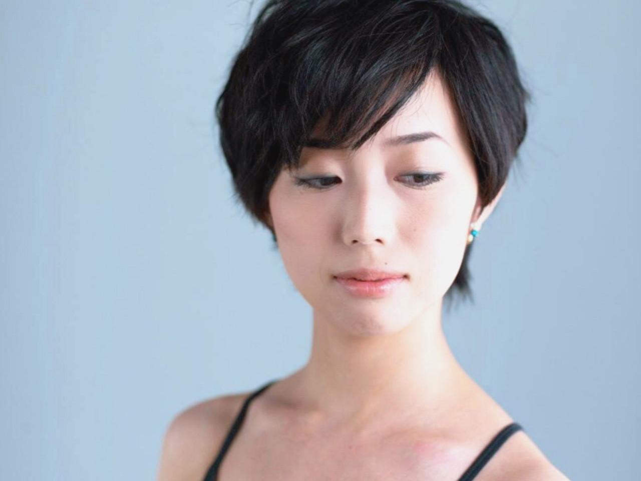 ナチュラル 黒髪 ショート ヘアメイク ヘアスタイルや髪型の写真・画像