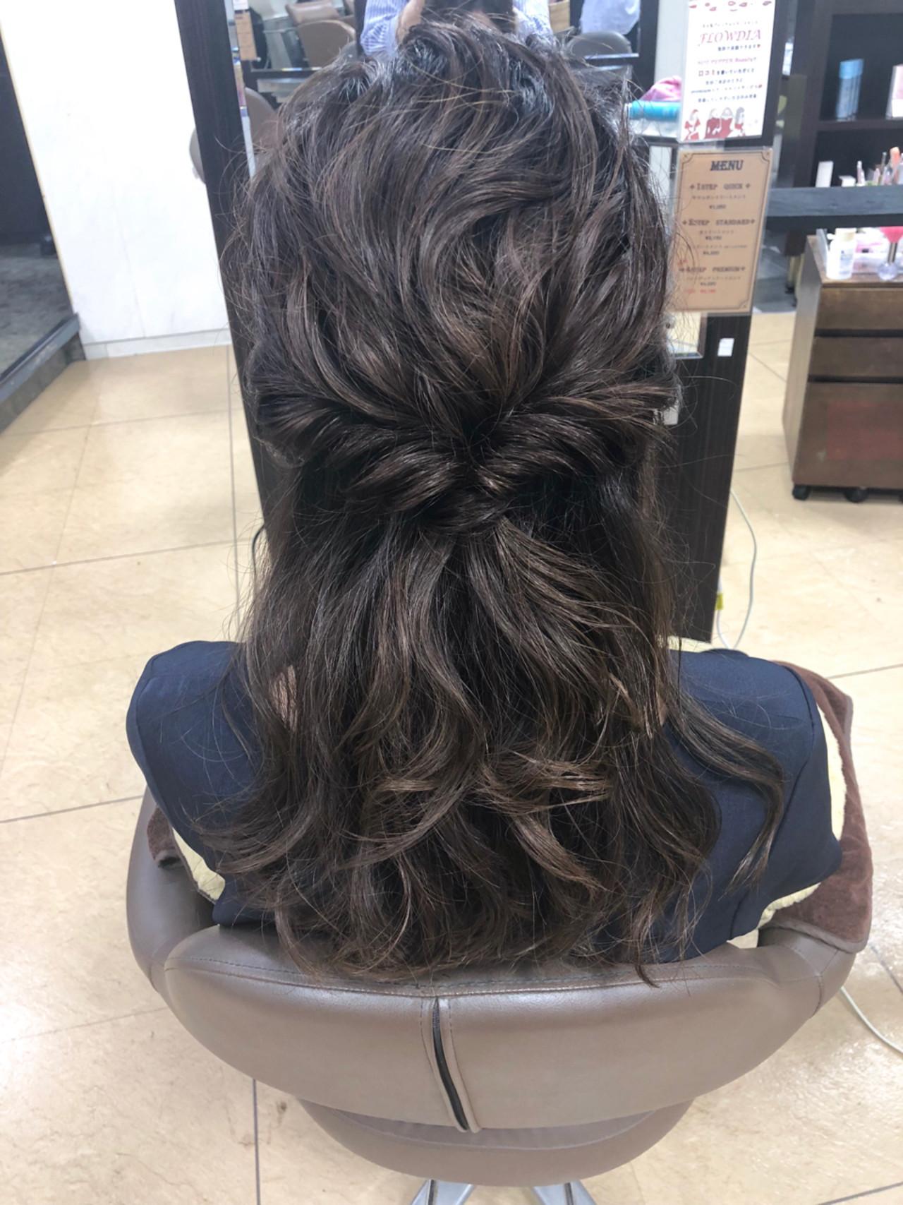 くるりんぱ セミロング ヘアアレンジ ハーフアップ ヘアスタイルや髪型の写真・画像