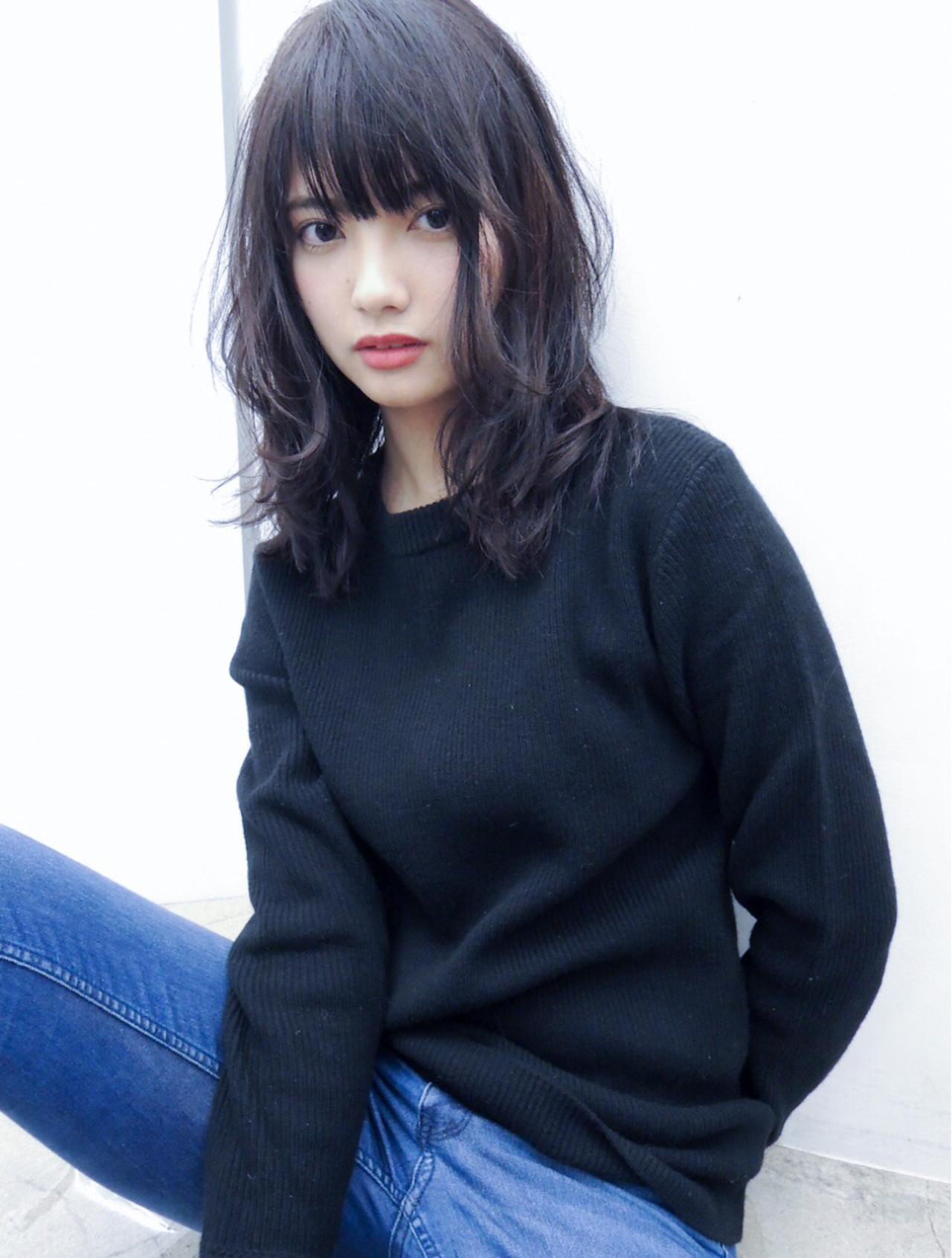 黒髪 デジタルパーマ 前髪あり パーマ ヘアスタイルや髪型の写真・画像