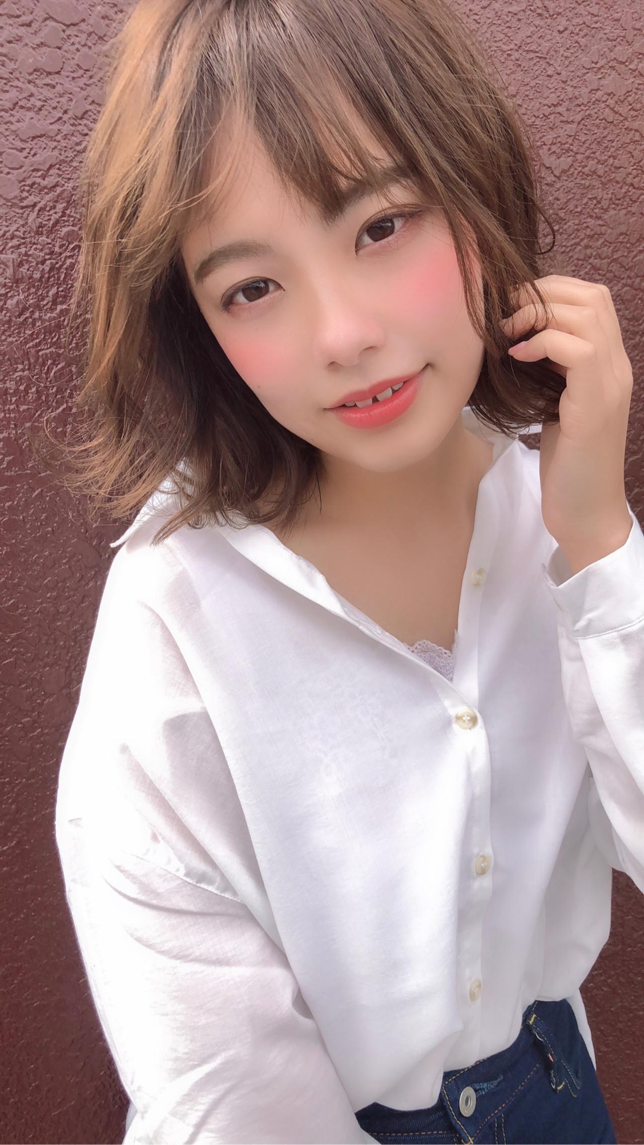 面長さんに!ふんわりパーマの小顔ボブ 篠田 雅樹
