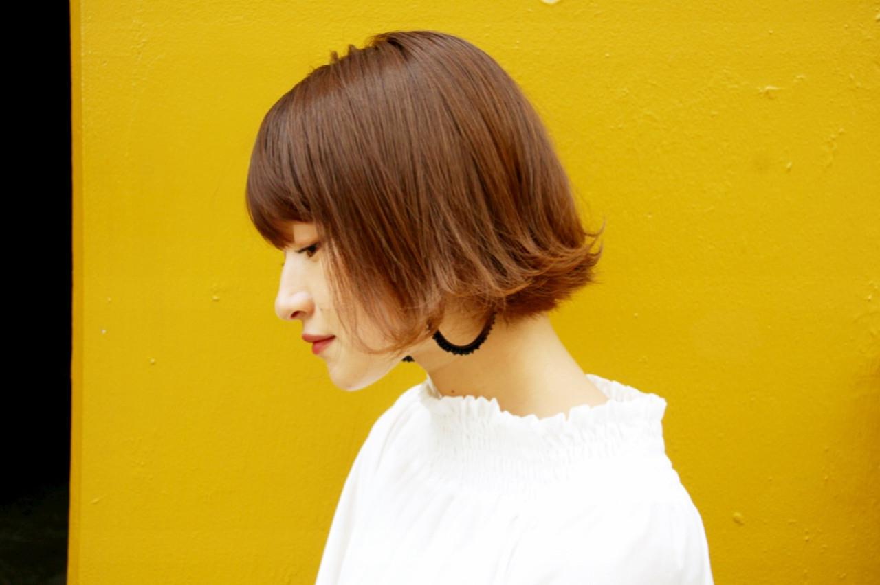 ガーリー ボブ エアーストレート アディクシーカラー ヘアスタイルや髪型の写真・画像